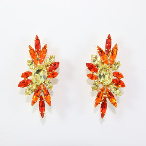 HQM Austrian Jonquil & Hyacinth Crystal Elongated Spike Earrings (Clip-On)