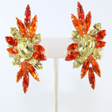 Load image into Gallery viewer, HQM Austrian Jonquil & Hyacinth Crystal Elongated Spike Earrings (Clip-On)
