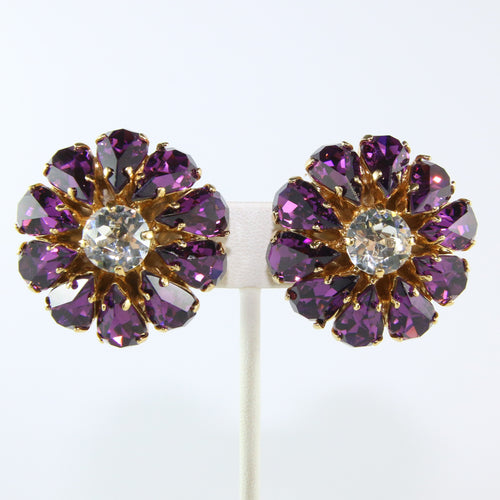 HQM Austrian Amethyst & Clear Large Daisy Earrings (Clip-On)