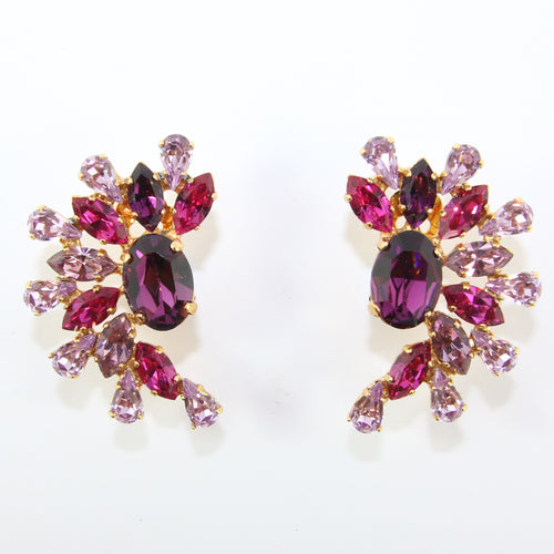 HQM Austrian Amethyst, Fuschia & Light Amethyst Cuff Earrings (Clip-On)
