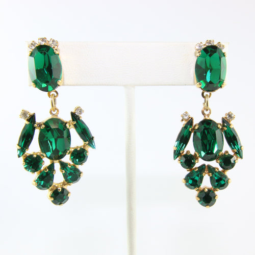 HQM Austrian Emerald Green & Clear Multi Drop Earrings (Pierced)