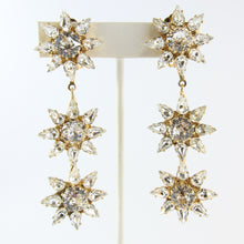 Load image into Gallery viewer, HQM Austrian Clear Crystal Three Star Drop Earrings (Clip-On)