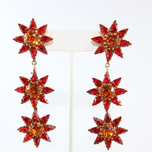 HQM Austrian Siam & Hyacinth Crystal Three Star Drop Earrings (Pierced)