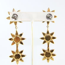 Load image into Gallery viewer, HQM Austrian Siam & Hyacinth Crystal Three Star Drop Earrings (Pierced)