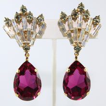 Load image into Gallery viewer, HQM Austrian Fuchsia, Clear & Black Diamond Deco Large Drop Earrings (Clip-On)