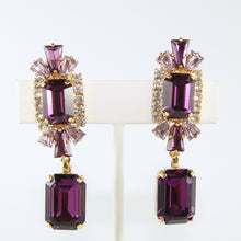 Load image into Gallery viewer, HQM Austrian Amethyst, Light Amethyst, Clear Double Rectangle Deco Earrings (Clip-On)