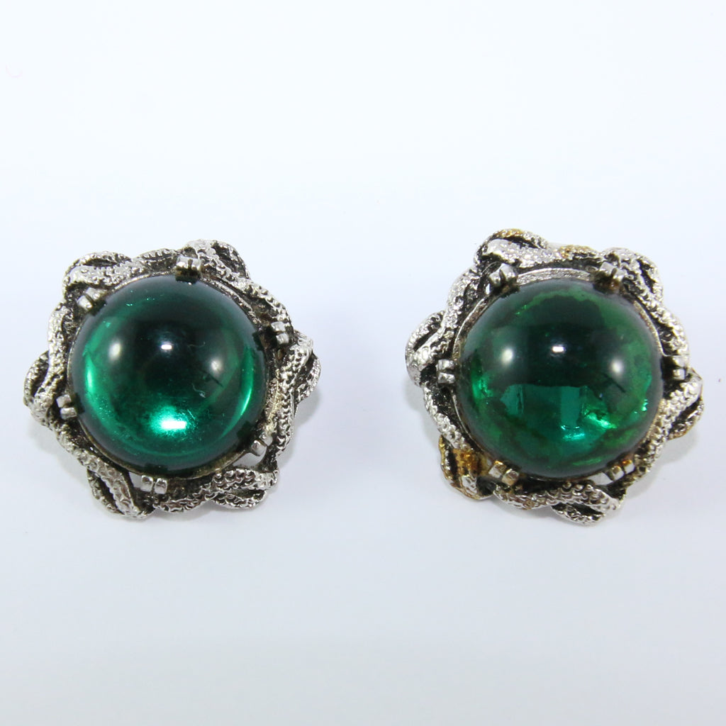 HQM Vintage Emerald Green & Silver Tone Signed 'Goldcrest' Earrings (Clip-On)