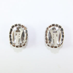 HQM Austrian Siam & Clear Crystal Oval Earrings (Clip-On)