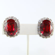 Load image into Gallery viewer, HQM Austrian Siam & Clear Crystal Oval Earrings (Clip-On)