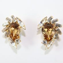 Load image into Gallery viewer, HQM Austrian Light Colorado Topaz & Clear Crystal Multi Shape Earrings (Clip-On)