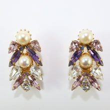 Load image into Gallery viewer, HQM Austrian Light Amethyst, Amethyst, Clear & Faux Pearl Multi Earrings (Clip-On)
