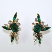 Load image into Gallery viewer, HQM Austrian Emerald & Clear Rectangle Spike Earrings (Pierced)