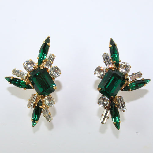 HQM Austrian Emerald & Clear Rectangle Spike Earrings (Pierced)