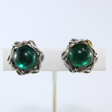 Load image into Gallery viewer, HQM Vintage Emerald Green & Silver Tone Signed 'Goldcrest' Earrings (Clip-On)