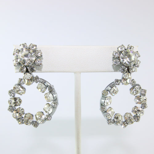 HQM Austrian Vintage Clear Crystal Double Hoop Earrings (Pierced)