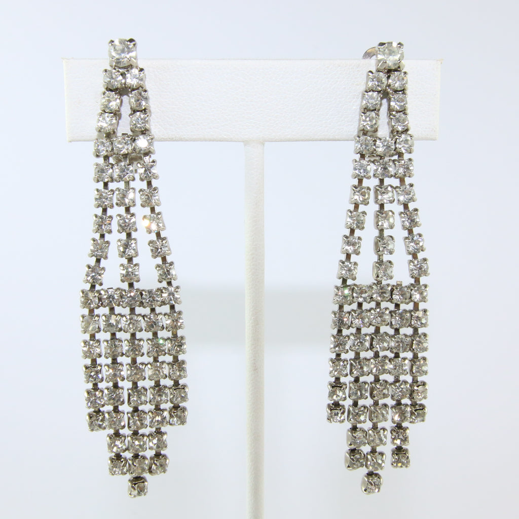HQM Austrian Vintage Clear Crystal Drop Multi Tassel Earring (Clip-On)