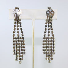 Load image into Gallery viewer, HQM Austrian Vintage Clear Crystal Drop Multi Tassel Earring (Clip-On)