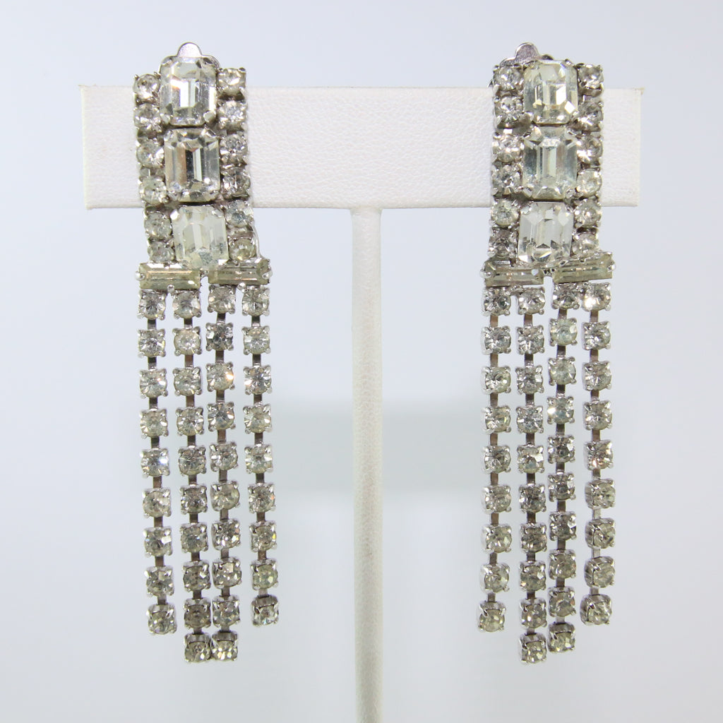 HQM Austrian Vintage Clear Crystal Three Stone Drop Multi Tassel Earring (Clip-On)