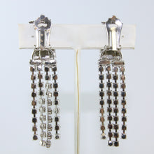 Load image into Gallery viewer, HQM Austrian Vintage Clear Crystal Three Stone Drop Multi Tassel Earring (Clip-On)