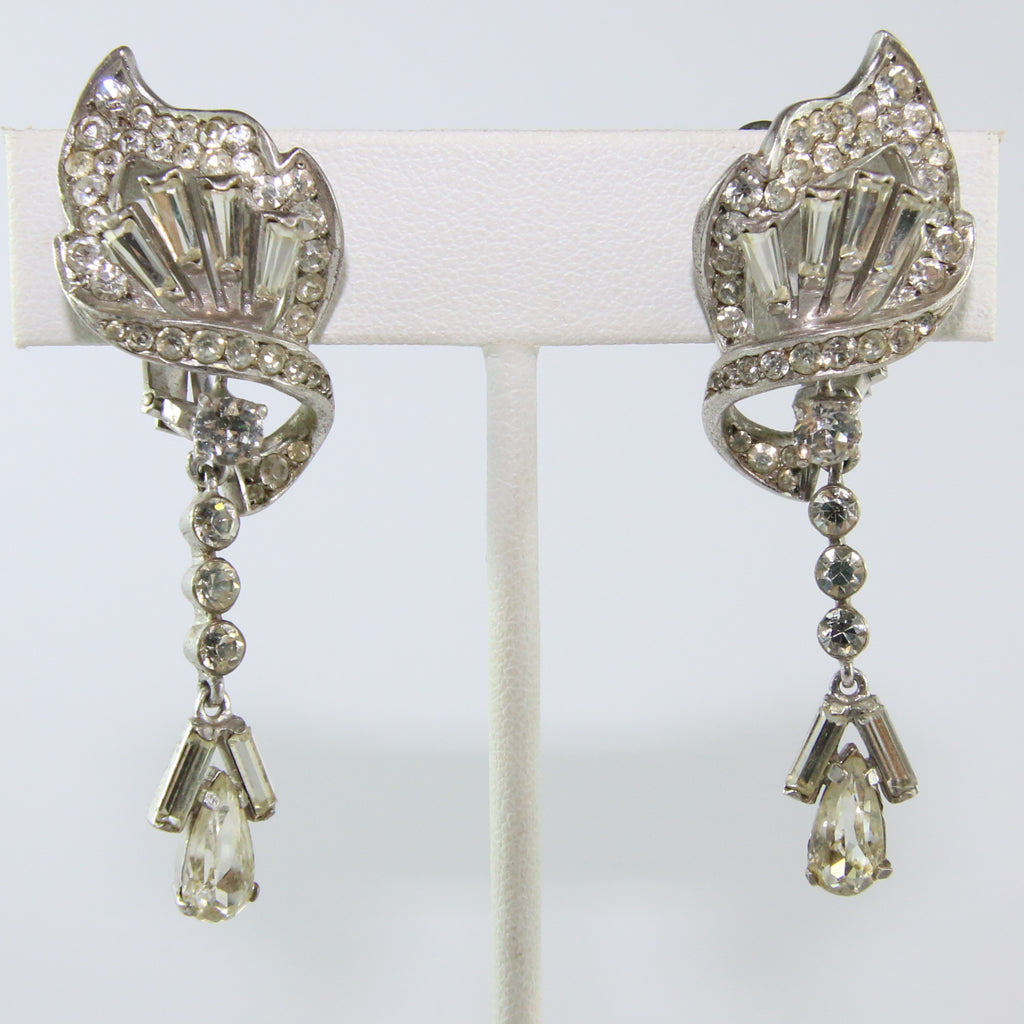 HQM Austrian Vintage Deco Twist Single Drop Earrings (Clip-On)