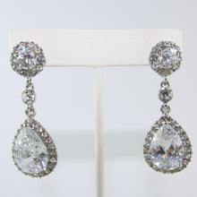 Load image into Gallery viewer, HQM Austrian Vintage Double Pendant Drop Clear & Light Amethyst Crystal Earrings (Pierced)