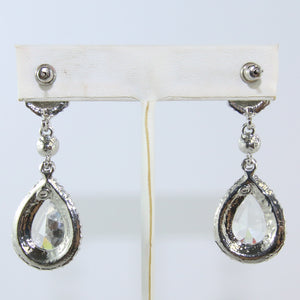 HQM Austrian Vintage Double Pendant Drop Clear & Light Amethyst Crystal Earrings (Pierced)