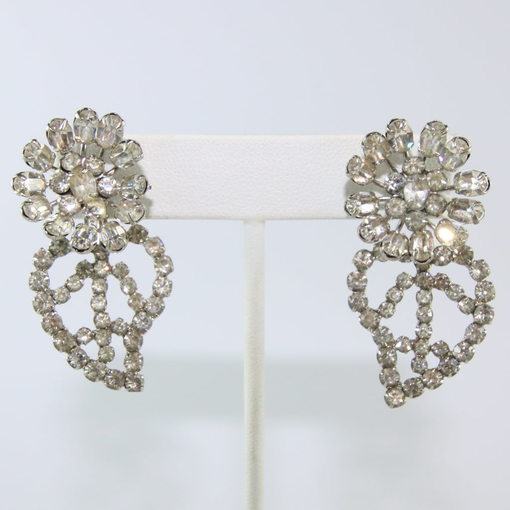 HQM Austrian Vintage Leaf Climber Clear Crystal Earrings (Pierced)