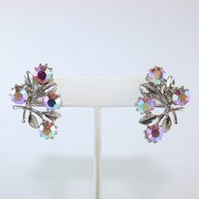 Load image into Gallery viewer, HQM Austrian Vintage Floral Leaf Aurore Boreale Crystal Earrings (Pierced)