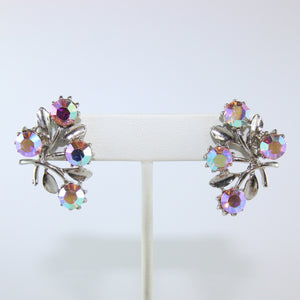 HQM Austrian Vintage Floral Leaf Aurore Boreale Crystal Earrings (Pierced)