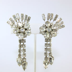 HQM Austrian Vintage Floral Sprig & Tassel Drop Earrings (Clip-On)