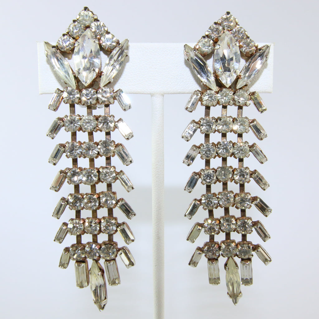 HQM Austrian Vintage Large Drop Textural Earrings (Clip-On)