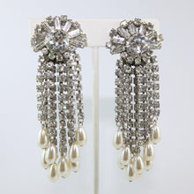 Load image into Gallery viewer, HQM Austrian Vintage Large Multi Tassel Clear Crystal & Faux Pearl Earrings (Clip-On)