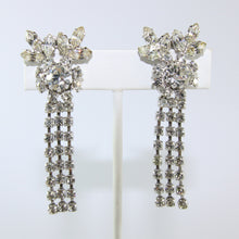Load image into Gallery viewer, HQM Austrian Vintage Unsigned Floral Centre Stone & Three Tassel Drop Earrings (Clip-On)