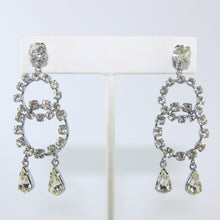 Load image into Gallery viewer, HQM Austrian Vintage Unsigned Double Hoop Two Drop Earrings (Pierced)
