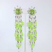 Load image into Gallery viewer, HQM Austrian Vintage Signed 'Paris House' Lime Green Multi Tassel Large Drop Earrings (Clip-On)