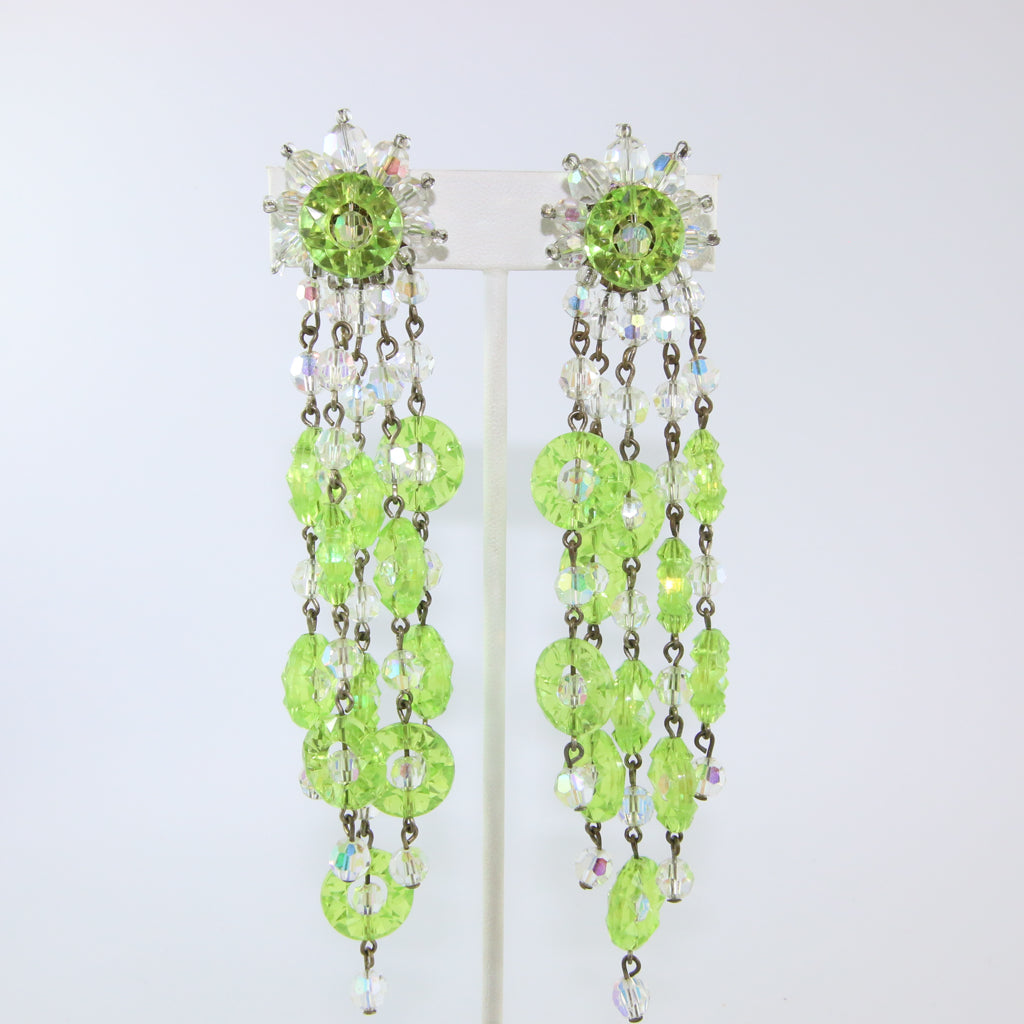HQM Austrian Vintage Signed 'Paris House' Lime Green Multi Tassel Large Drop Earrings (Clip-On)