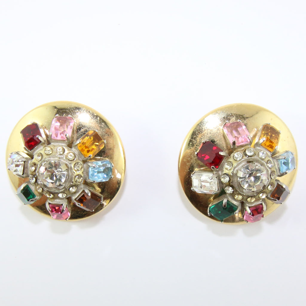 HQM Austrian Vintage Unsigned Large Round Multi Coloured Earrings (Clip-On)