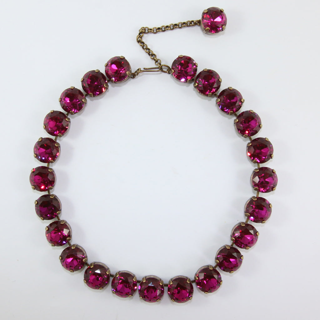 Harlequin Market Large Austrian Crystal Accent Necklace - Fuchsia