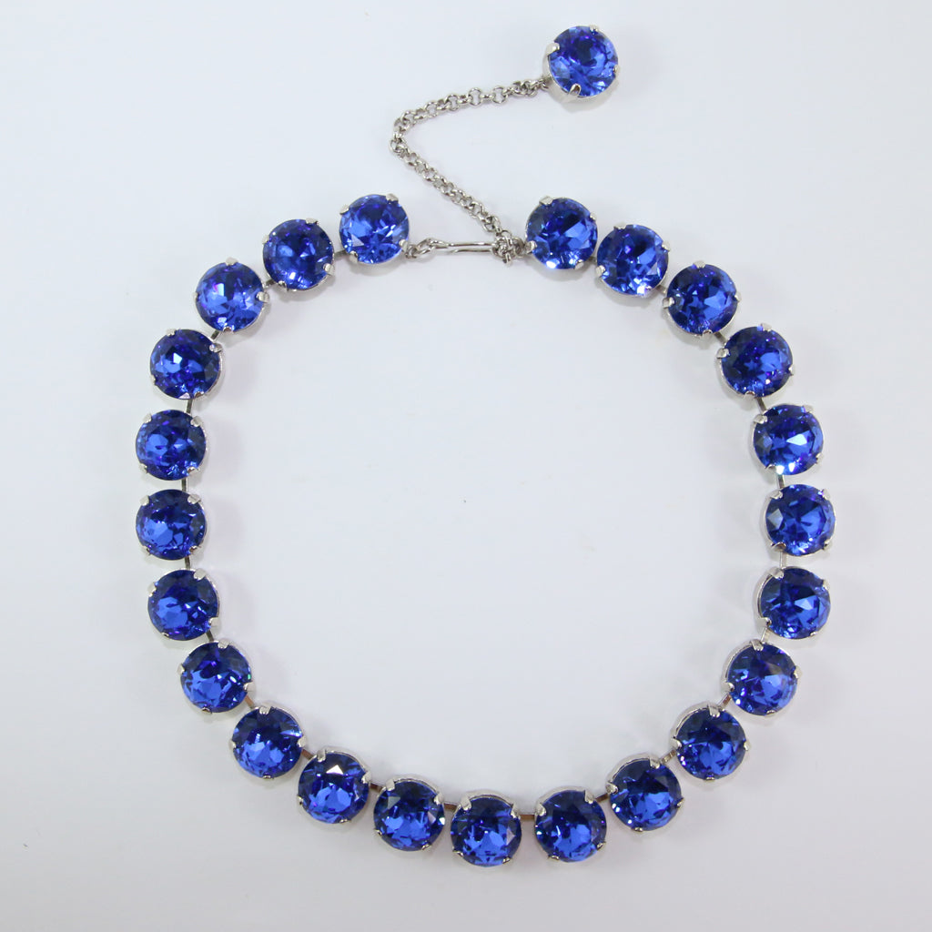 Harlequin Market Large Austrian Crystal Accent Necklace - Sapphire