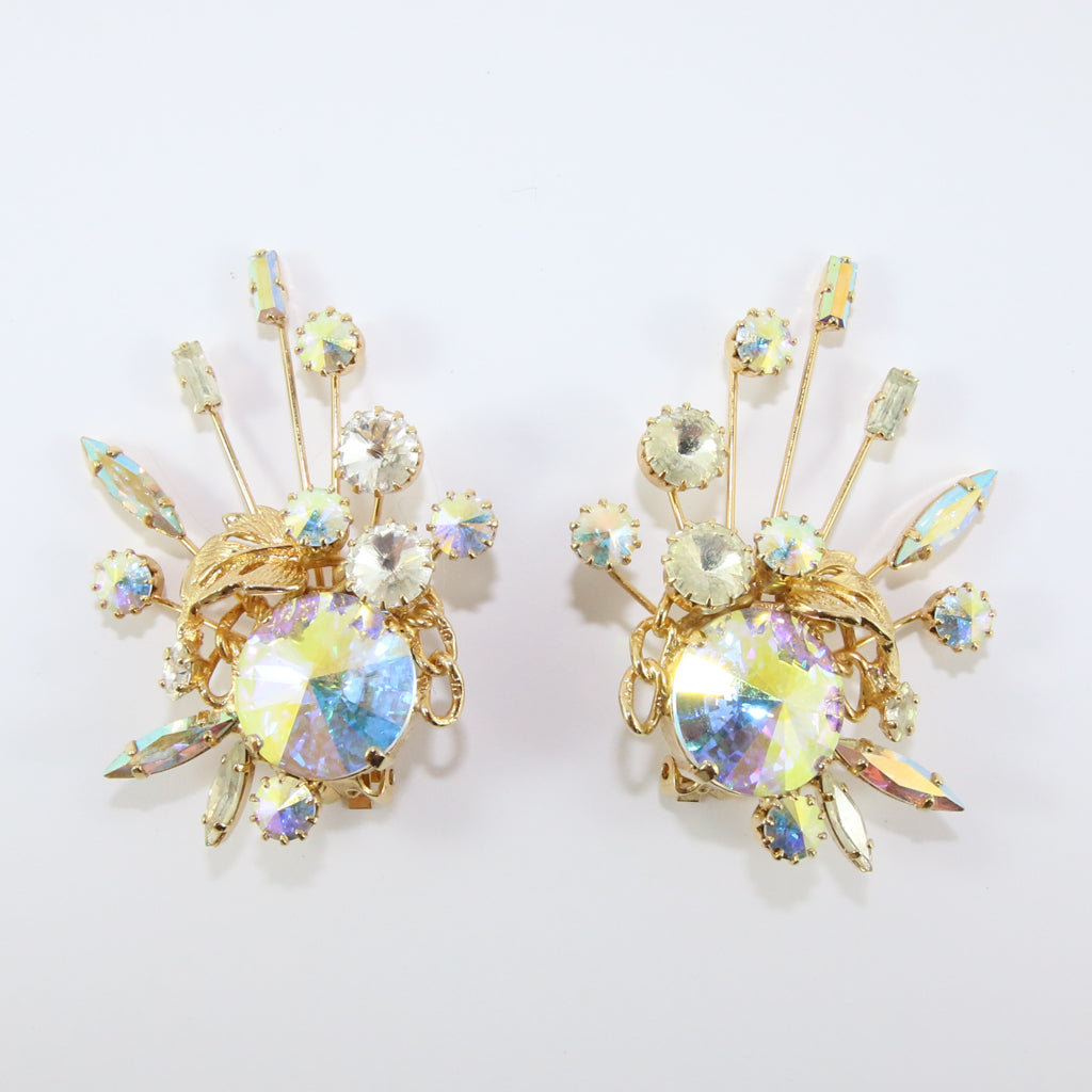 HQM Austrian Vintage Unsigned Aurore Boreale Large Spark & Golden Leaf Earrings (Clip-On)