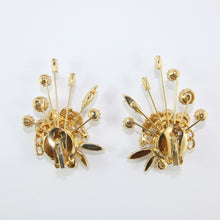 Load image into Gallery viewer, HQM Austrian Vintage Unsigned Aurore Boreale Large Spark & Golden Leaf Earrings (Clip-On)