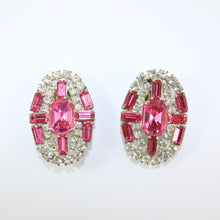 Load image into Gallery viewer, HQM Austrian Vintage Unsigned Large Oval Clear & Rose Crystal Earrings (Clip-On)
