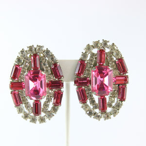 HQM Austrian Vintage Unsigned Large Oval Clear & Rose Crystal Earrings (Clip-On)