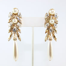 Load image into Gallery viewer, HQM Austrian Golden Shadow,Clear Crystal & Faux Pearl Drop Earrings (Pierced)