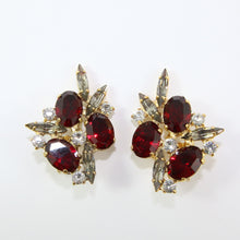 Load image into Gallery viewer, HQM Austrian Ruby, Clear & Black Diamond Crystal Cluster Earrings (Clip-On)