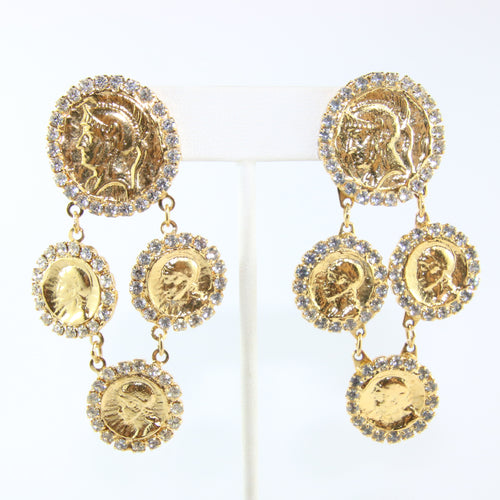 HQM Austrian Multi Gold Tone Coins & Clear Crystal Earrings (Pierced)