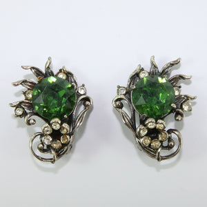 HQM Austrian Vintage Green & Clear Crystal Claw Earrings (Clip-On)