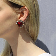 Load image into Gallery viewer, Harlequin Market Austrian Crystal Ruby Red-Clear-Gold Earrings- (Clip-On)