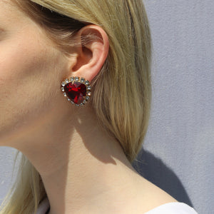 Harlequin Market Austrian Crystal Ruby Red-Clear-Gold Earrings- (Clip-On)