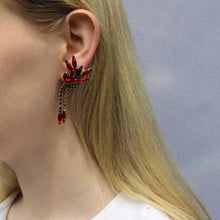 Load image into Gallery viewer, Harlequin Market Austrian Crystal Earrings - Siam - Jet - Gold (Pierced)